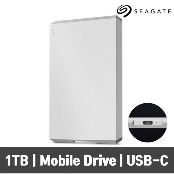 씨게이트 LaCie Mobile Drive USB-C 라씨 모바일 C타입 외장하드, 실버, 1TB