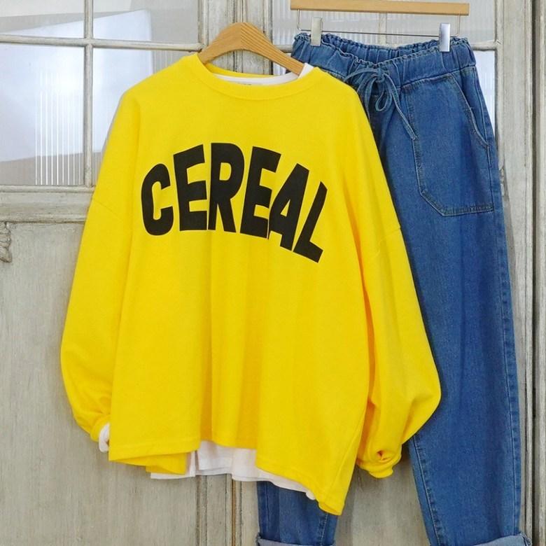이힝 시리얼스 레터링 오버핏 박스 루즈핏 긴팔 티셔츠