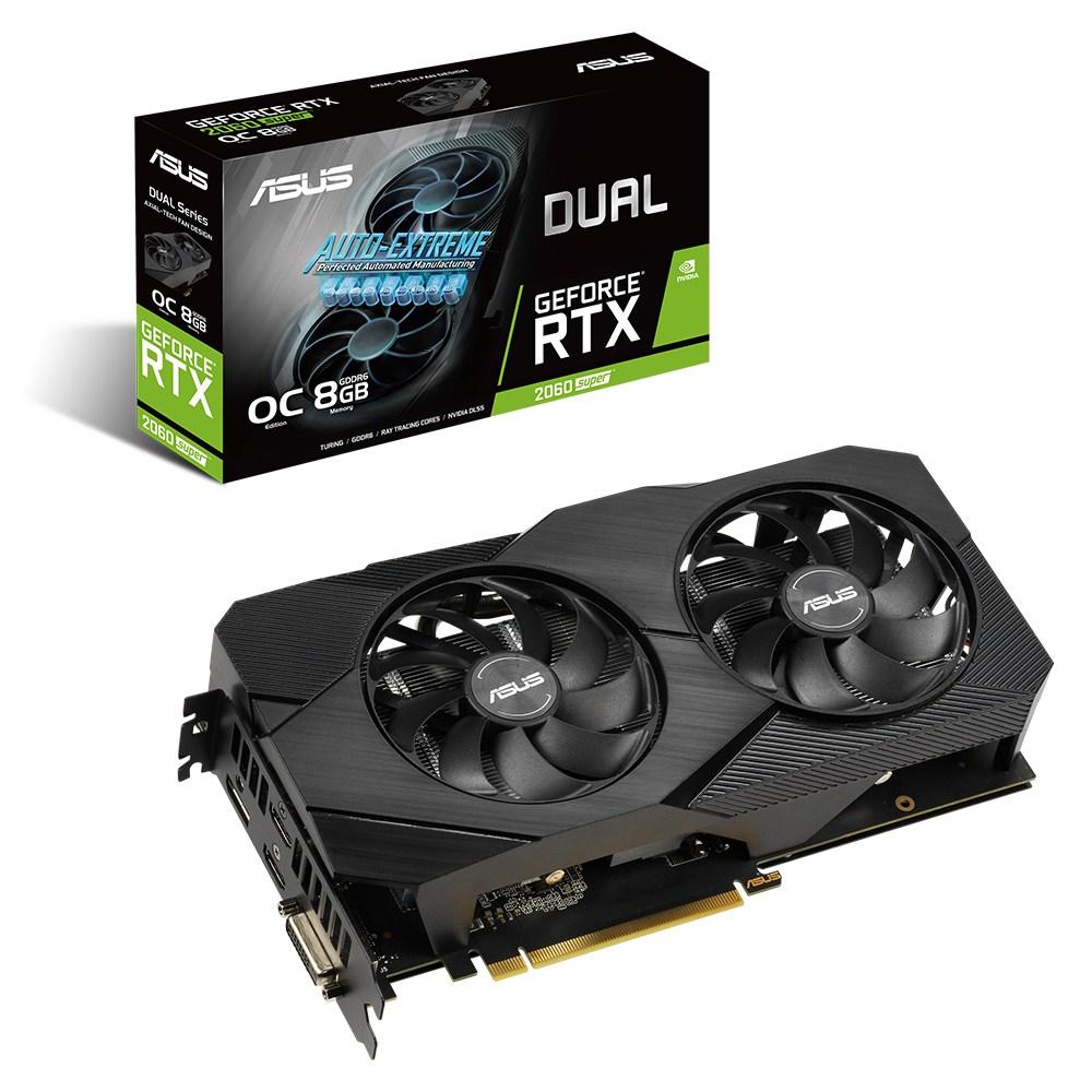 ASUS DUAL 지포스 RTX 2060 SUPER O8G EVO V2 D6 8GB NVIDIA 그래픽카드, 단일상품