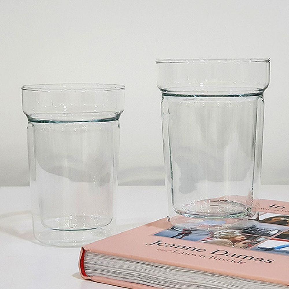 시맥스 내열 유리 이중 잔 400ml 2P 음료컵 투명컵, 선택1