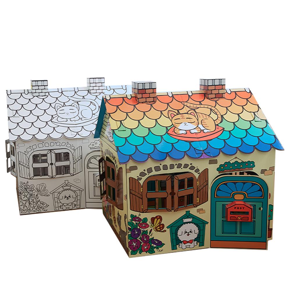 [아이의집] 색칠하는 대형 종이집 - 숲속의 친구들 테마(양면 스케치 / 양면 컬러링), M-1 컬러링 버전(비닐코팅)