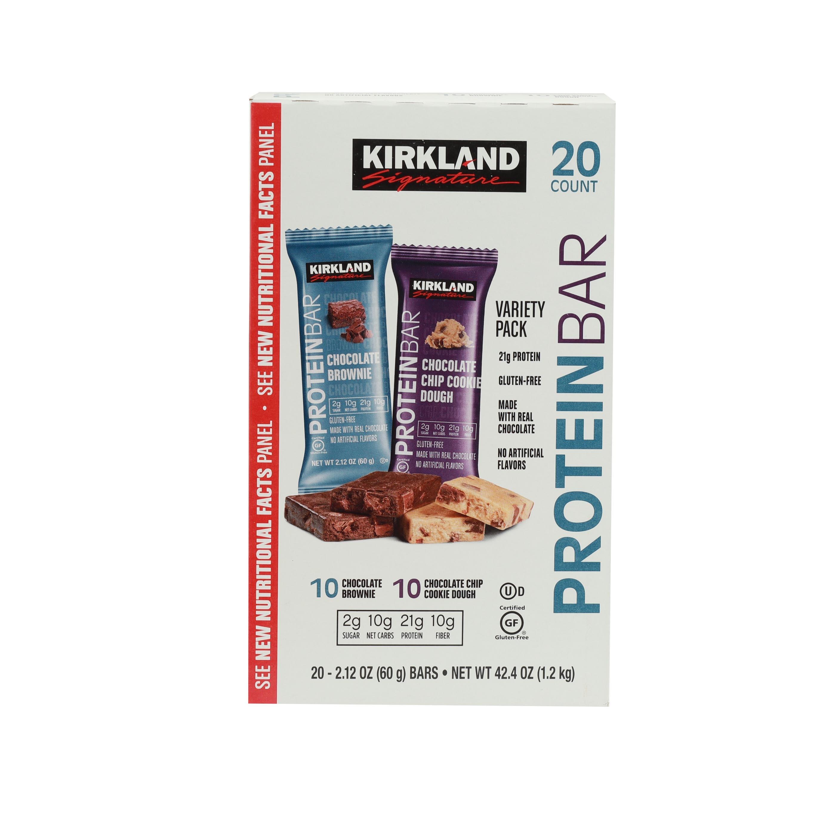 커클랜드시그니춰 프로틴 바 60g, 초콜릿 브라우니 + 칩 쿠키 도우, 20개입