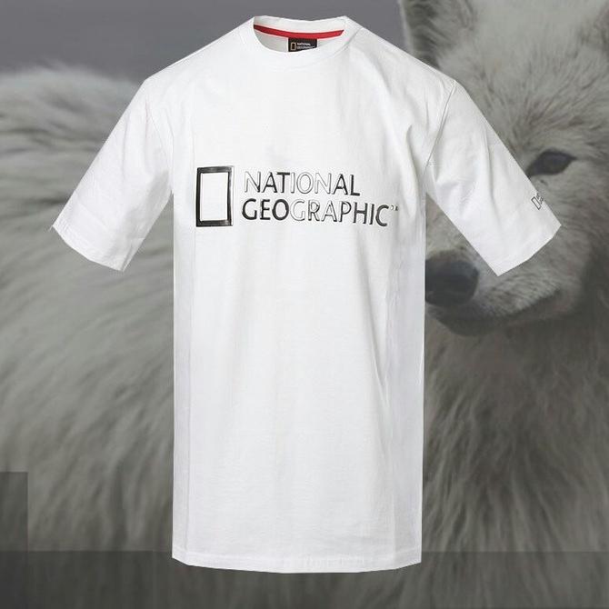 내셔널지오그래픽 남녀공용 메탈유광 엠보 면 반팔 티셔츠