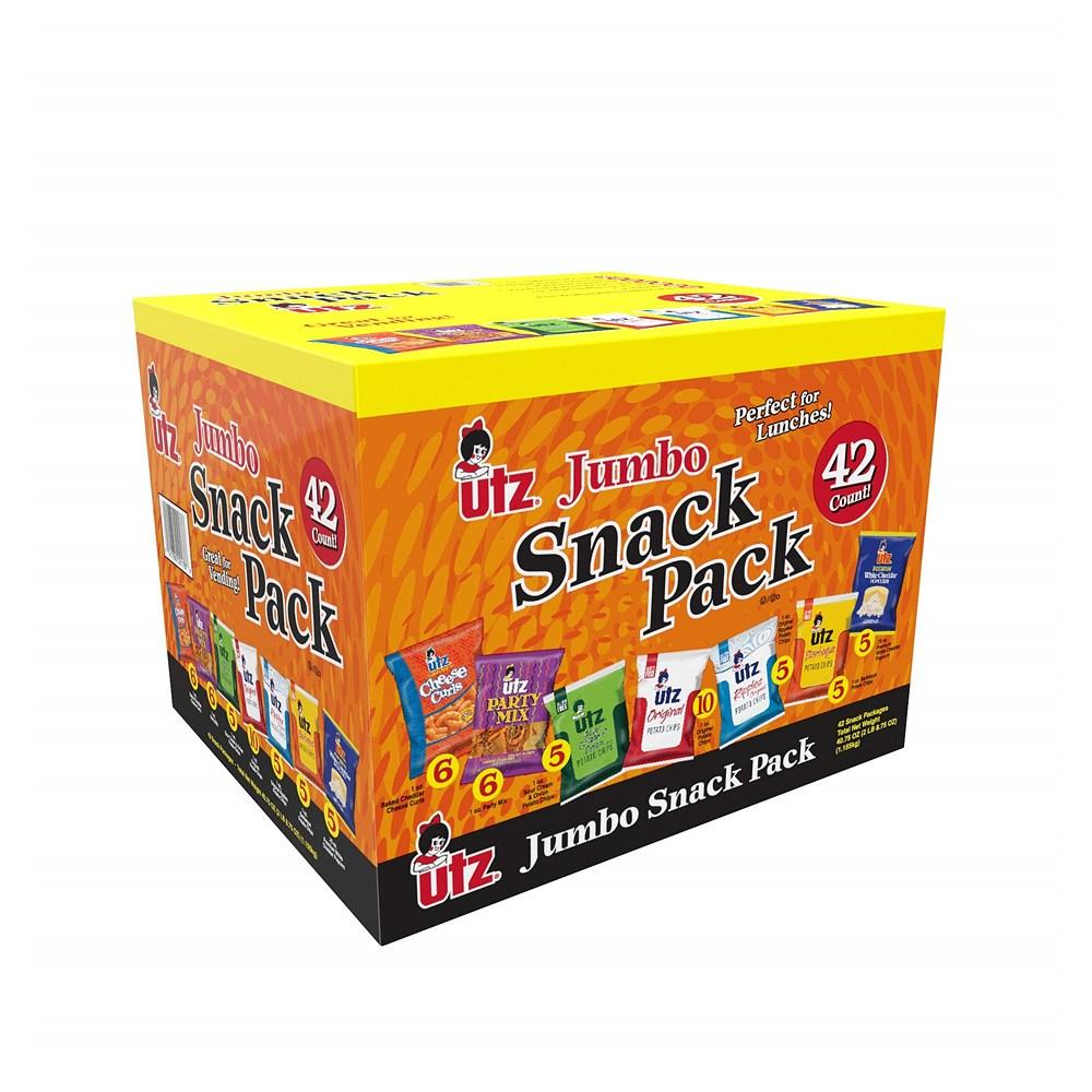 UTZ Snack Variety Pack 유티지 스낵 버라이어티 팩 (감자 칩 치즈 컬 팝콘 파티 믹스 크런치) 42개입, 1개