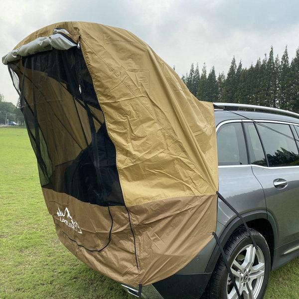 [고급] 차박 해외 SUV 카 테일 텐트 아웃 도어 자율 주행 투어 바베큐 캠핑 연장 선크림 트렁크 텐트, 암갈색 (철 파이프 없음) (POP 5613929041)