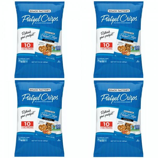 Snack Factory Pretzel Crisps Original Flavor 스낵팩토리 프레첼 크리스프 오리지널 10개입 283g 4팩, 단일상품