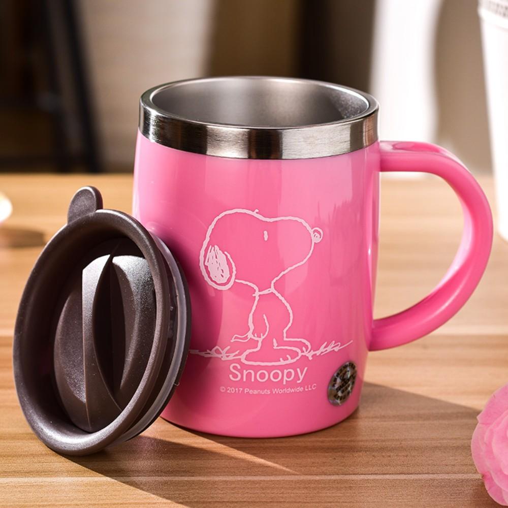 스누피 보온보냉 스댕 머그컵 캠핑 가서 쓰기좋은 안깨지는컵 스누피머그컵, 분홍
