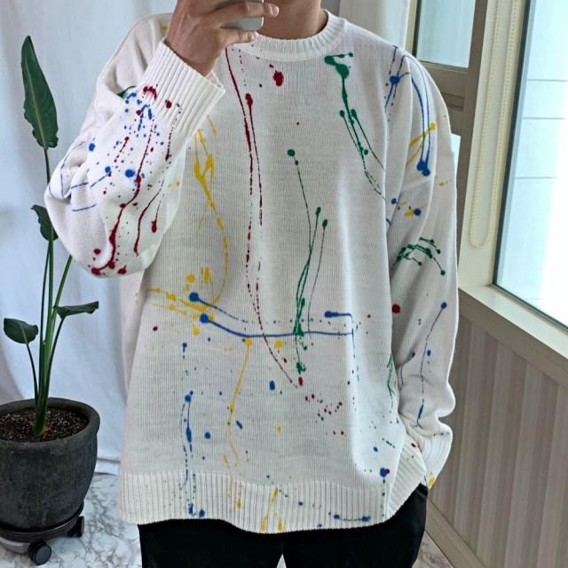 남녀공용 오버핏 페인트 물감 프린트 맨투맨 니트 / 3color