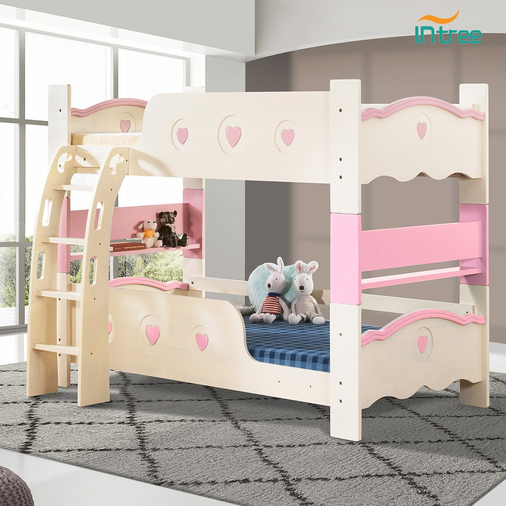 인트리 앨리사 원목 이층침대 세트(10cm안전양면매트+원목깔판 각2개포함), 핑크+블루