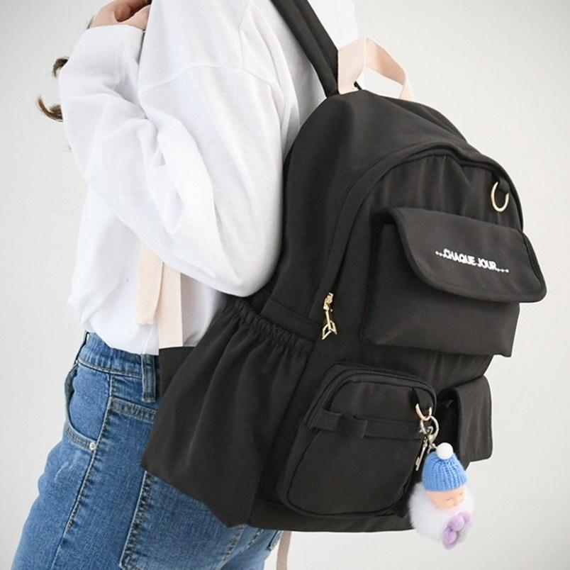 여자 여성 중학생 고등학생 여고생 중고등학생 학생용 여행용 텀블러 포켓 수납공간많은 베이직 파스텔 백팩 가방
