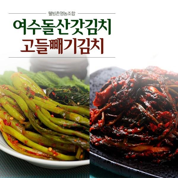 [웰빙촌]여수돌산갓김치3kg+여수고들빼기2kg, 1박스
