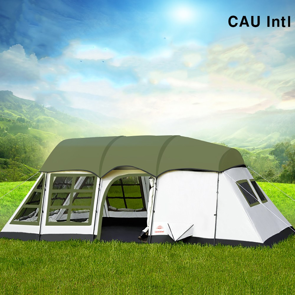 EUSEBIO 프리미엄 8-12인 대형 텐트 장박텐트 동계용 쉘터 겨울 글램핑 캠핑, 그린