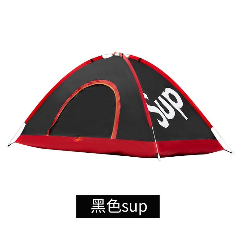 원터치텐트 슈프림 야외 텐트 캠핑 싱글 더블 방수, 텐트를 던지는 검은 sup 손