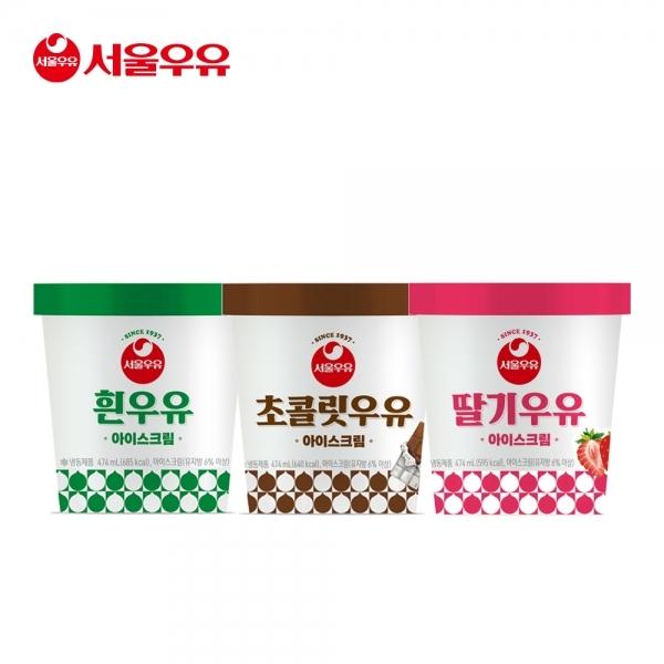 [서울우유] 파인트 아이스크림 3종 (흰우유+초코우유+딸기우유), 단품