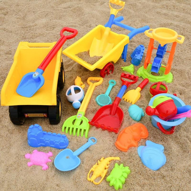 [해외 직송]뉴타임즈 모래놀이 야외완구 어린이 비치 장난감 세트 모래 아기 모래장난 도구 라지 사이즈 모래 캐기 XZ21 C11, 1개, 04 26피스