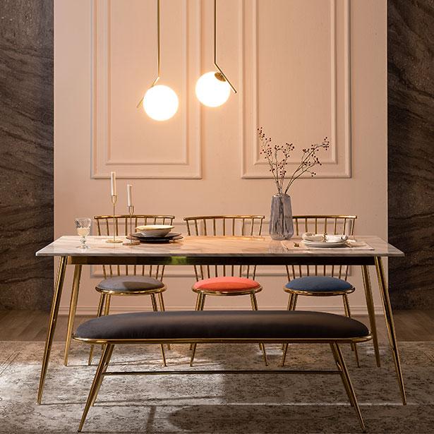 모딜리아니 M82 대리석 골드 6인 식탁세트(의자+벤치), 6인식탁세트
