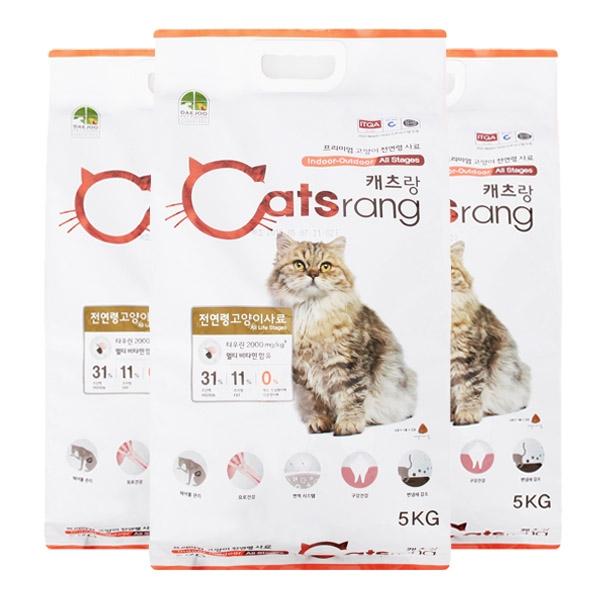 캐츠랑 캣츠랑 전연령 올라이프 5kg 고양이 사료, 3개