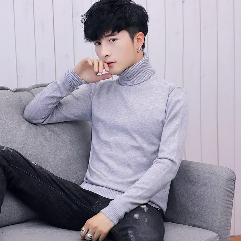 남자목폴라니트 남성용 스웨터 가을겨울용 2019유행 라운드넥 니트 언더셔츠 남성복 슬림핏 긴팔