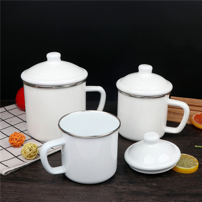 에나멜 법랑 화이트 잔 컵, 12cm