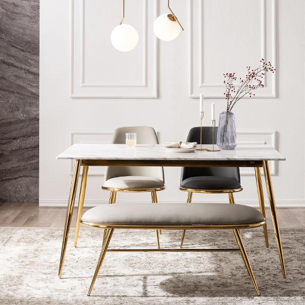 모딜리아니 대리석 골드 4인 식탁 테이블, 4인식탁테이블