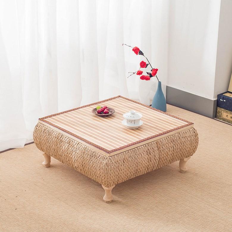 라탄 왕골 티테이블 찻상 거실 좌식 스툴 수납 테이블 의자 푸프, 대형 (60X60X30cm) + 좌