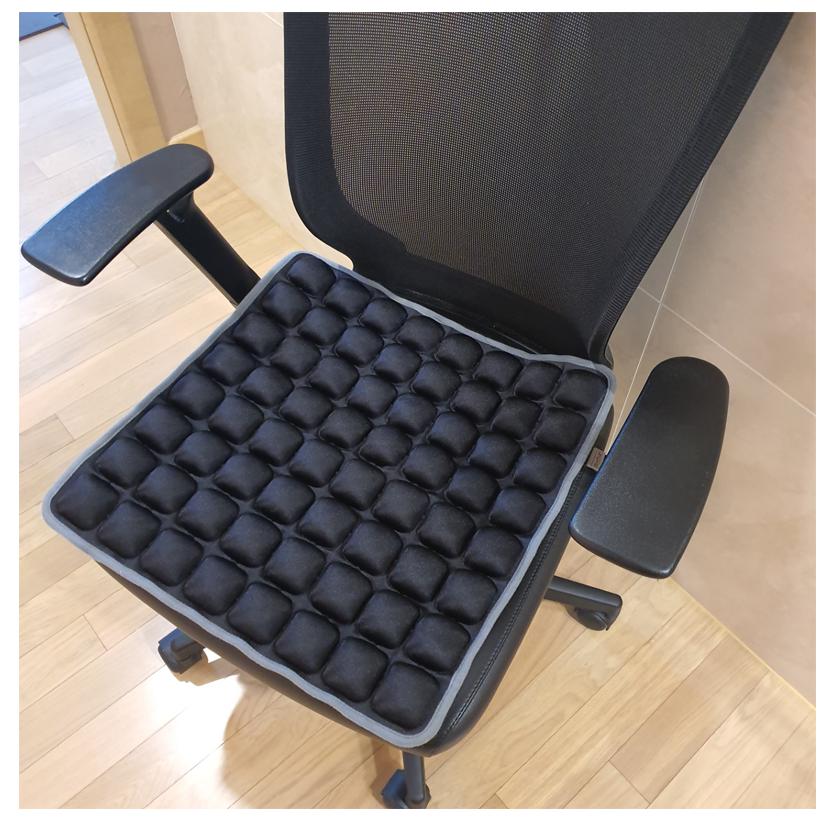 소소심 5D 8x8 에어셀 방석 에어백 구름방석 임산부 수험생 학생 사무실 자동차 휠체어 의자 공기방석, 블랙