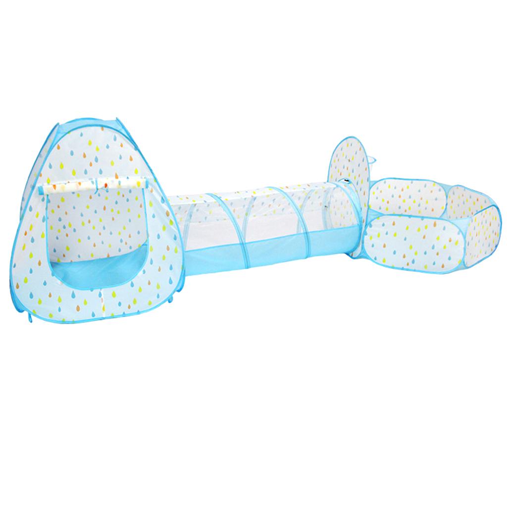 STK 3in1 어린이 놀이텐트 터널 볼풀 세트 아동 텐트 장난감 놀이집 블루, 푸른