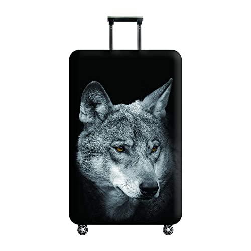 3D 인쇄 늑대 디자인 여행 트롤리 케이스 커버 보호 커버 30-32 트롤리 케이스 수하물 보관 커버 XL 사이즈 수하물 태그 포함