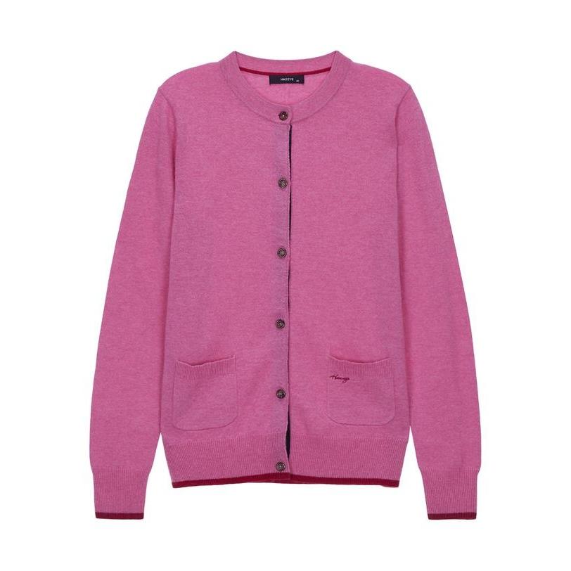 헤지스 여성 19FW 핑크 라인배색 울혼방 가디건 HSSW9D753P2