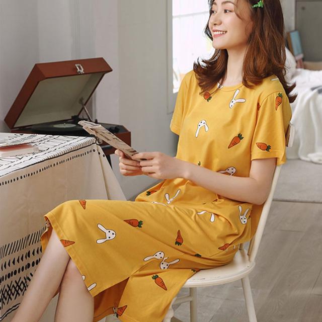 마쿠쿠 데일리 반팔 여자 잠옷 홈웨어 원피스 롱티셔츠