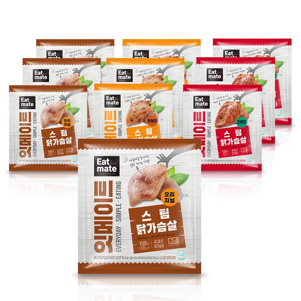 잇메이트 스팀 닭가슴살 혼합구성, 100g, 10팩