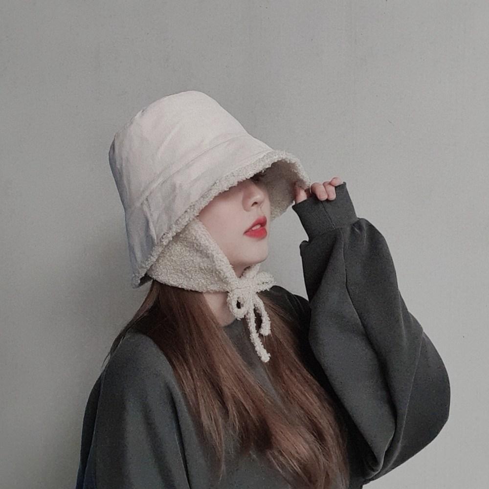 BA(비에이) 겨울 양털무스탕 탈부착 뽀글이 귀덮개 버킷햇 군밤 트래퍼햇 모자