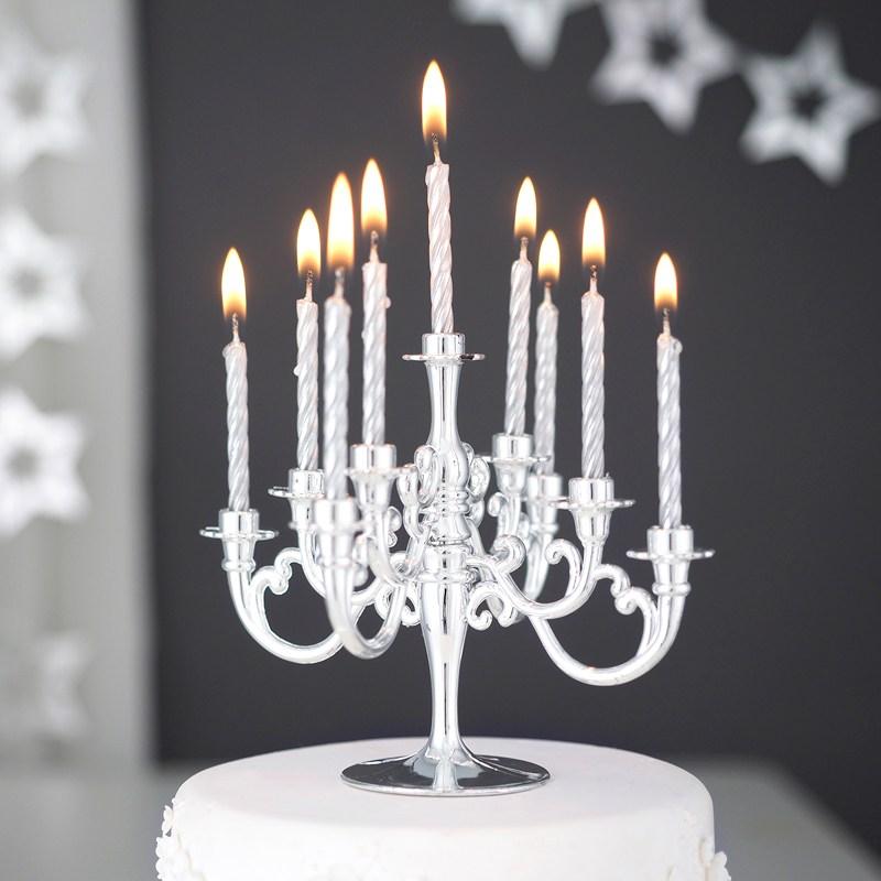 생일초 샹들리에 생일케익초 촛대 캔들 세트, 8번 메탈실버