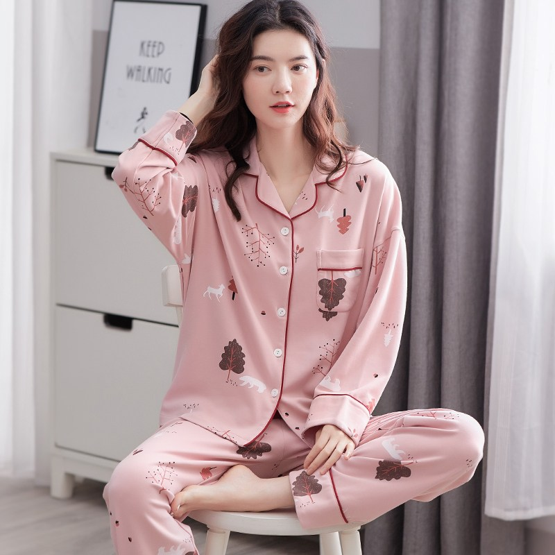 집순이스타일 - 소프트 핑크 파자마 잠옷세트 여성실내복 셔츠파자마 집에서입는옷