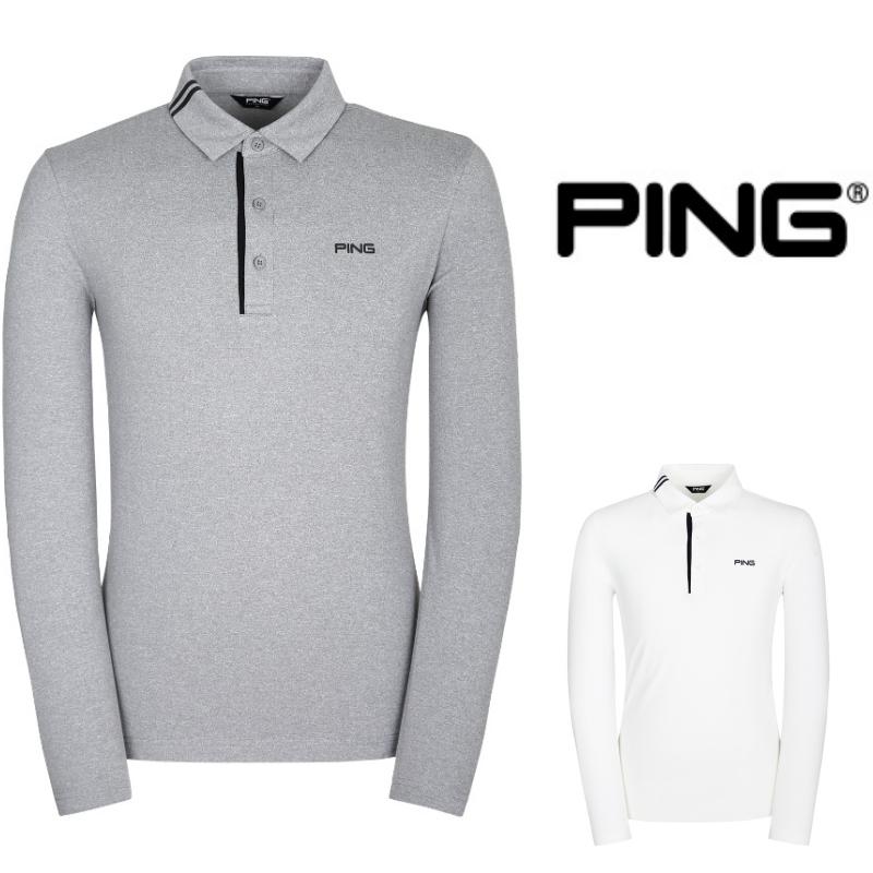 핑 PING 112가을 남성 카라 더블라인 포인트 베이직 긴팔 티셔츠 03TO901, 화이트