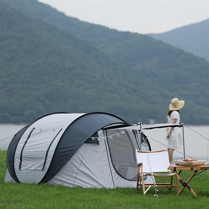 아웃도어 텐트 캠핑 나들이 방수 자외선차단 원터치 휴대용 접이식 외출, [02]은회색도색[복도3~4인]무료전