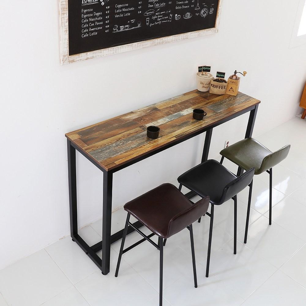 THEJOA [더조아] 홈바테이블 높은테이블 카페 인테리어 아일랜드식탁 홈바테이블 콘솔, 1500 빈티지브라운