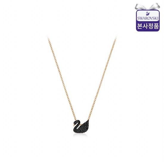 [스와로브스키/본사정품] Iconic Swan Small 로즈골드 블랙 목걸이 5204133