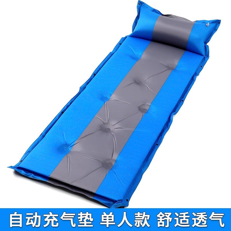 자충매트 2020뉴타입 자동 공기충전 제습패드 텐트매트 싱글 통이넓은 1미터너비 사무실 기숙사 오후휴식, T04-B1인용 블루 192*62*3cm