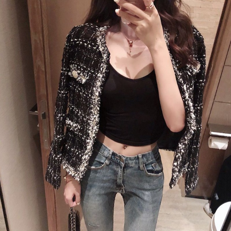 여성용 캐주얼 트위드 자켓