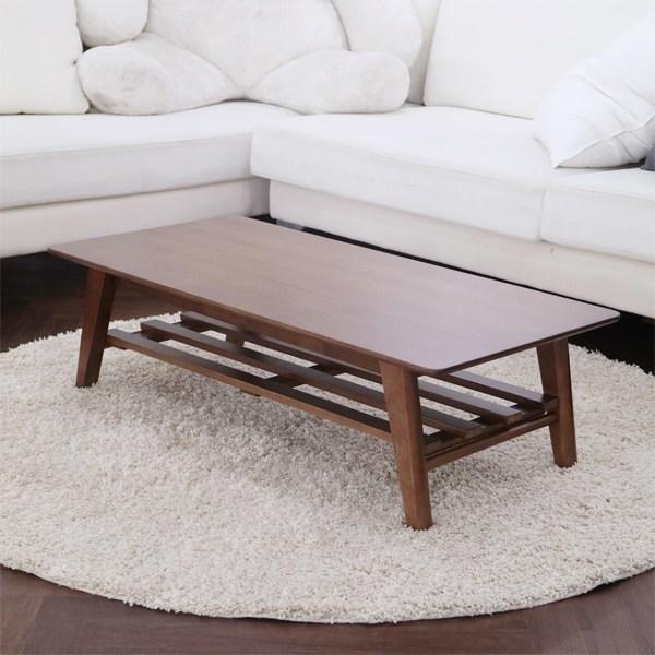 파란들 르메르 선반형 접이식 테이블 800 원목좌탁 원목테이블 소파테이블, 브라운