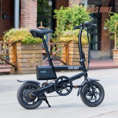cmsbike CMSBIKE MINI 12인치 250W 미니 접이식 전기자전거, 블랙