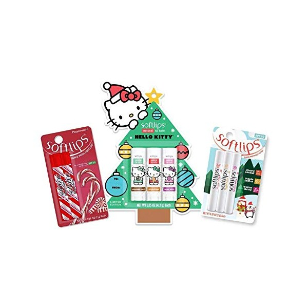 Softlips Limited Edition Holiday Christmas Set: Hello Kitty Holiday Tree Christmas Slim Sticks Pep, 단일상품, 단일상품