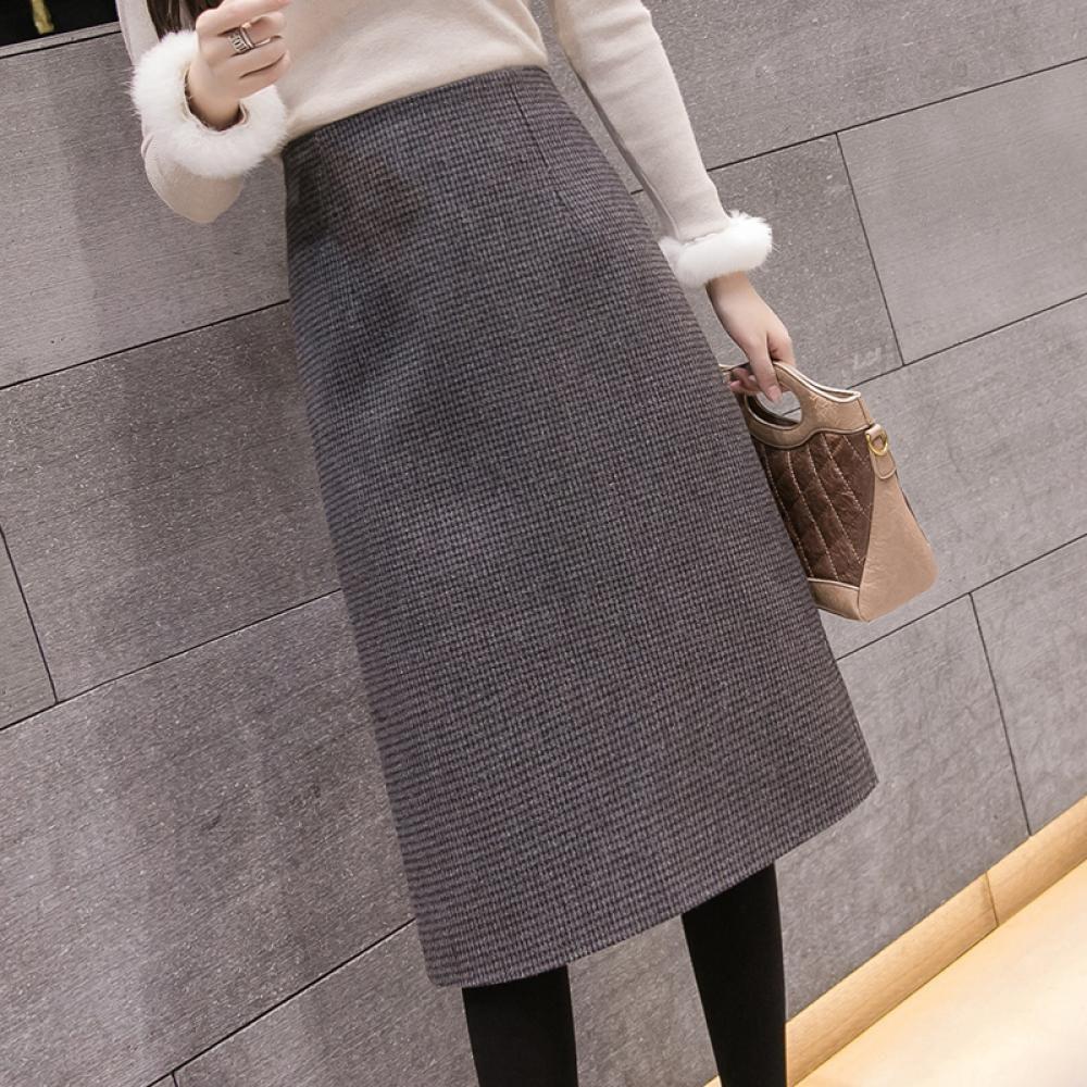 kirahosi 패션 겨울 모직 스커트 여자 하이웨이스트 64호+덧신증정 BLdslyov