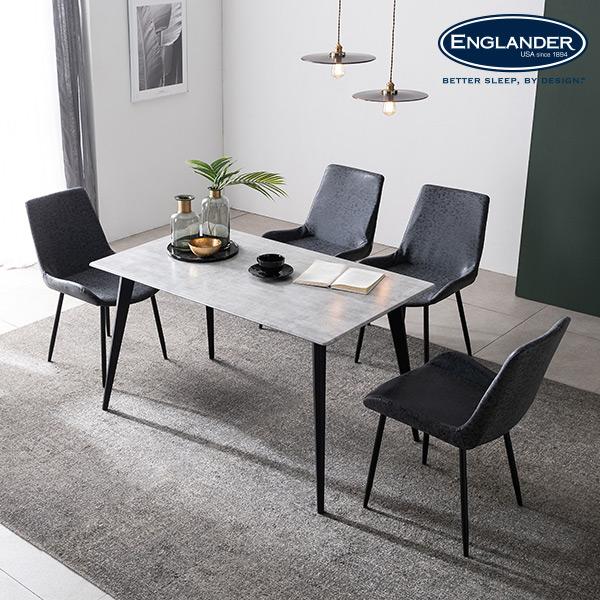 [잉글랜더]그레노 RB세라믹 4인용 식탁 세트(의자4), 마블화이트(블랙)