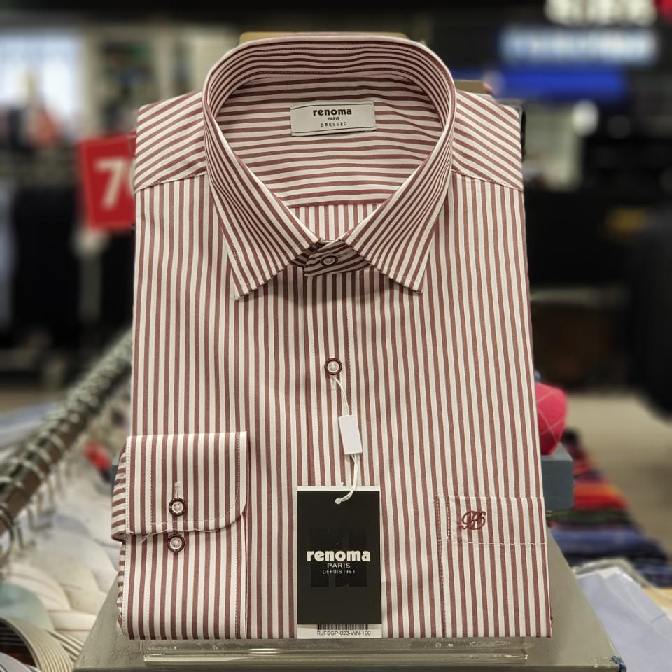 레노마 셔츠 #무료 배송#가격 인하 빅 면혼방 와인 런던 스트라이프 스냅카라 일반 핏