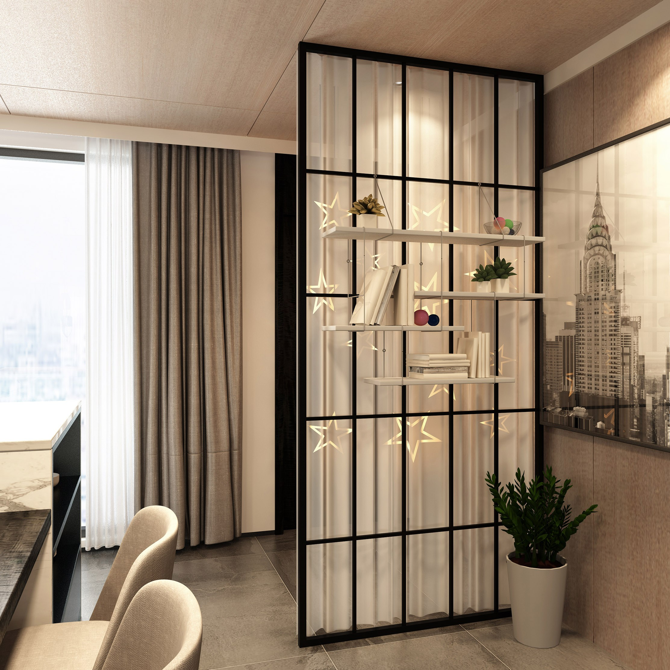 모던디자인 주방 현관 침실 철제가벽 셀프가벽 원룸파티션 경량칸막이, 화이트 90x210