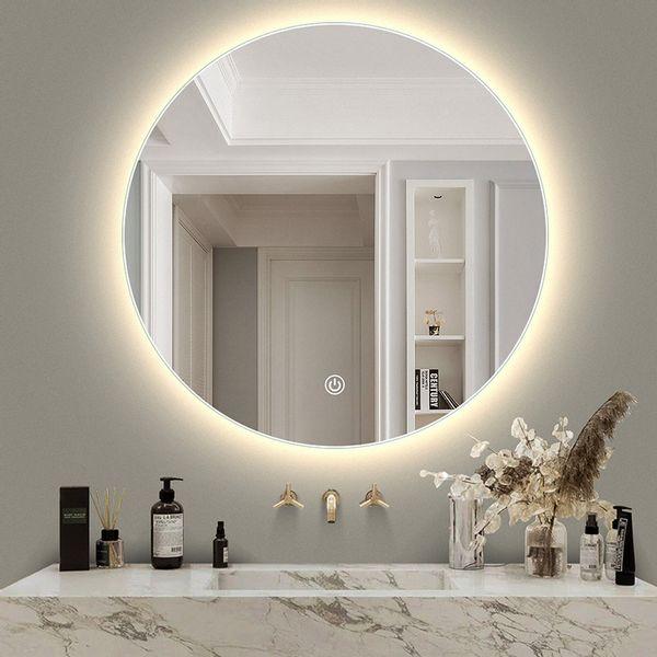 투톤조명 LED 메이크업 스마트 led 화장실 화장욕실 거울밴드 등 원형 터치스크린 렌즈, AA X 50CM