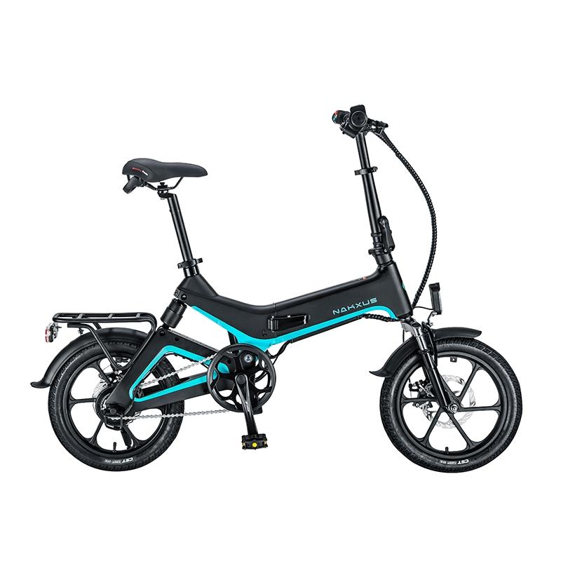 전기자전거 NAKXUS 자전거 접이식 리튬 배터리 운송 보조 자전거 16 인치 도시 경량 자전거 접이식 전기자전거, 화이트  마그네슘 합금  전력 최대 약 100km, 36V (POP 5429572229)