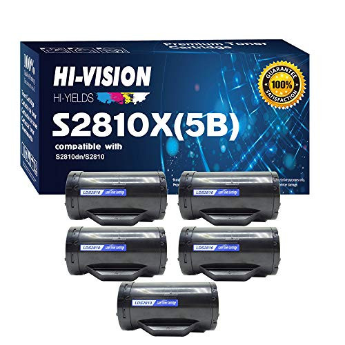 HI-Vision 5 Pack Compatible DELL S2810X High Yield 6000 Pages 593-BBMF Black Toner Cartridge Replacement for H815dw / S2810dn / S2815dn Printers, 본문참고